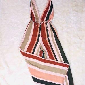 4Si3nna Striped Jumpsuit